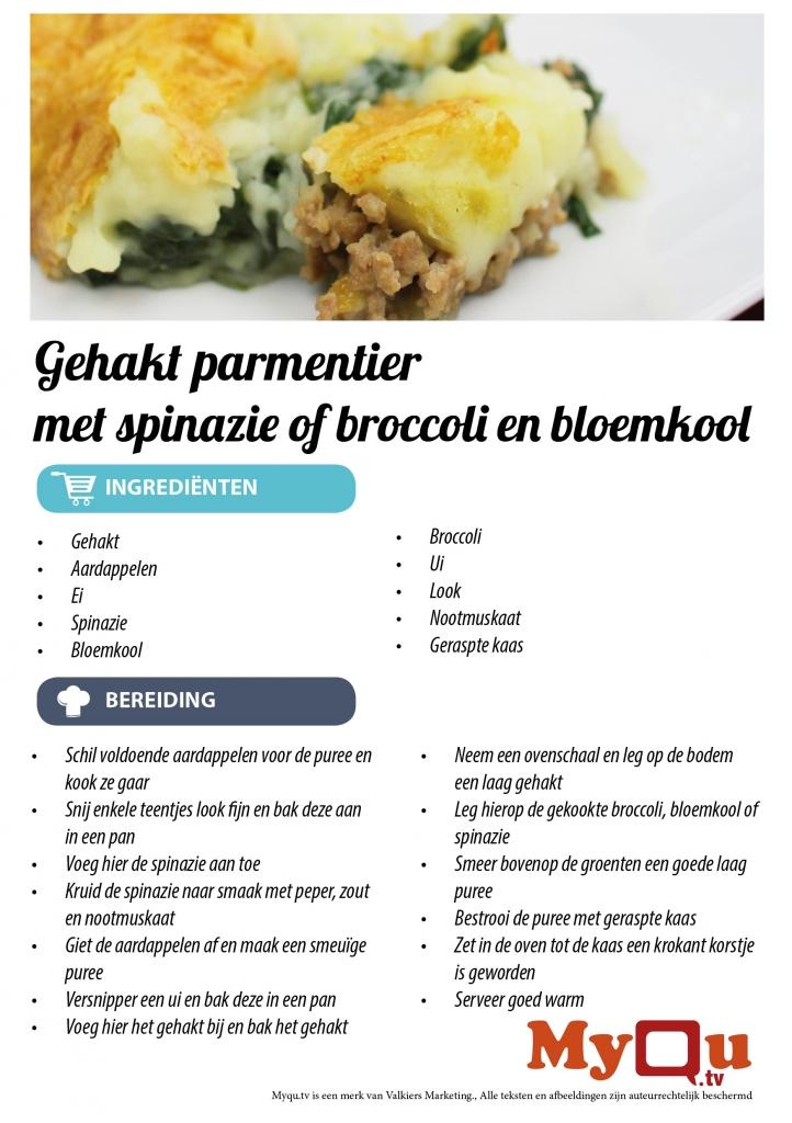 Gehakt parmentier met spinazie of broccoli en bloemkool