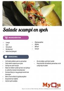 Salade scampi en spek